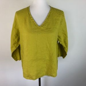 Flax Size Medium Green Yellow Linen Tunic Top